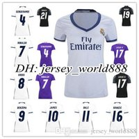 Wholesale Real Madrid home and away white and purple T shirt shirt female models single season new can be printed at any size