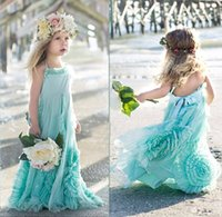 beautiful beach weddings - 2016 New Beautiful mint green long halter beach tulle flower girl dresses nice sleeveless boho kids birthday party gowns