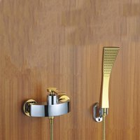 Wholesale PHASAT Contemporary Brass Yellow Round Over head Shower Faucet Suit Exposed Single Handle Classic Bathroom Shower Sets