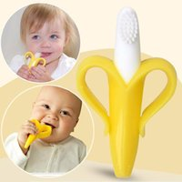 Wholesale High Quality Baby Teethers Baby Teething Rings Bite Silicone Banana Toothbrush opp bag packing