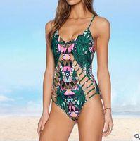 Wholesale swimsuit Plus Size Sexy One Piece Swimwear Women Print flower Hollow Out Bandage Monokini Swimsuit Bathing Suit Bodysuit