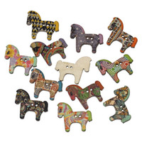 Wholesale 2016 Random Mixed Horse Shaped Wooden Buttons Holes Buttons x2 cm For Sewing Scrapbooking Crafting And DIY Craft Pack Of I307L
