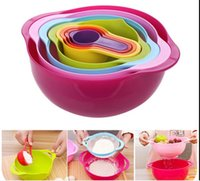 Wholesale 8 Piece set Rainbow Kitchen filtered amount Beiwan baking dishes and pots stirring surface measuring cup bowl of rainbow