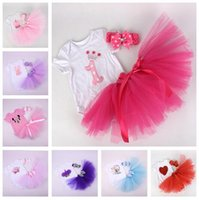 2-7years  baby brands direct - 13 Style Cartoon Baby Girl Infant Toddler Outfits Lace Birthday Cupcake Romper Tutu Skirt Handmade Crochet Headband Factory Direct