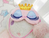 Wholesale Lovely Pink Blue Crown Eyeshade Eye Cover Sleeping Mask Travel Cartoon Long Eyelashes Blindfold Gift For Women Girls New
