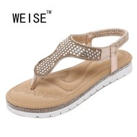 aa trade - WEISE New European And American Female Sandals Rhinestone Fashion Trade Large Size Shoes Flat Shoes