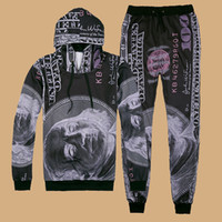 Wholesale Men and Women winter Jogging suits with round collar and long sleeve exerices fitness suit pants dollar bills pattern
