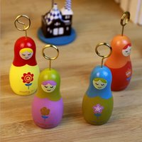 Wholesale NEW Sweet Russia Doll Girl design wooden Paper clip message clip carousel wood clip Office School
