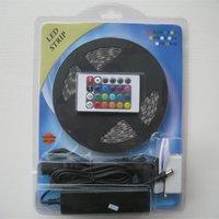 Wholesale RGB LED strip V waterproof m M KEY or KEY IR Remote Controller V A Power Adapter IP65