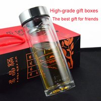 Wholesale Family thermos Business gift High grade heat resistant transparent crystal cup double glass Mugs for water coffee women men