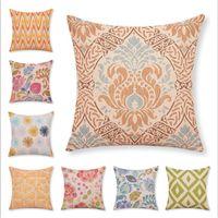 Wholesale New Cartoon Style Flower Cushion Square Printed Cojines Home Decor Sofa Throw Pillow High Quality Cotton Linen Fundas