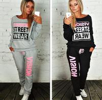 Wholesale 2016 Women s Tracksuit Sports Letter Print Sweatsuit Coat Pants Hoodie Suit Tenue Sport Femme Sport