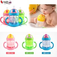 Wholesale 3 Colors ML Cute Baby Cup Kids Children Learn Feeding Drinking Water Straw Handle Bottle mamadeira Sippy Training Cup