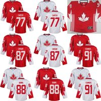 Cheap Mens Team Canada 91 Steven Stamkos 88 Brent Burns 77 Jeff Carter 87 Crosby 2016 World Cup of Hockey Olympics Game White Jersey Stitched