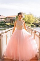 Wholesale Sweet Blush Pink Tulle A Line Prom Dresses Sleeveless Lace Top Jewel Neck Floor Length Ball Gown Evening Gowns Custom Made