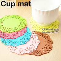 Wholesale 10 Colored Lace Cup Mat PVC Round Coaster Zakka Tea Placement for table organizer Stationery school supplies