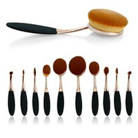 black powder - Top Quality Oval Makeup Brush In the Box Beauty Toothbrush Shaped Foundation Power Makeup Oval Cream Puff Brushes Sets