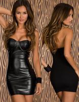 Wholesale Wetlook Erotic Lingerie Sex Fetish Clothes Women Leather latex PVC Mini Dress Sexy Club Pole Dance Dress