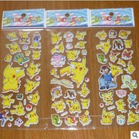 Wholesale 2016 D Cartoon Sticker Poke Pikachu Wall Stickers UV Wallpaper Nursery Children Kids Bedroom Wall paster Kindergarten Reward cm