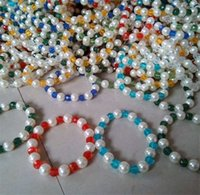beaded hair strands - The new fashion Pearl with crystal bracelet multi color mix hair elastic rope string pearl jewelry Small jewelry
