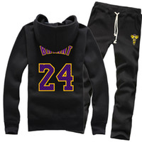 Wholesale New Basketball Los Angles Kobe Bryant Lakers Winter Pure Cotton Zipper Fleece Hoodies Sweater Coat Jackets Sports Pants Tracksuit