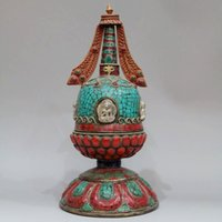 Wholesale Old Tibet Nepal turquoise stone pine Ruby Emerald religious mosaic adder