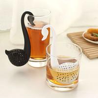 Wholesale New Nolvety Gift Swan Spoon Tea Strainer Infuser Teaspoon Filter Creative Plastic Tea Tools Kitchen Accessories