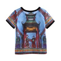 Wholesale Cutestyles Summer New Retro Boys T shirt Short Sleeve Fashion Print Children T shirt BT90318 L