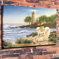 angels oils paintings - Oil Painting Art Print on Canvas An Angel and A Lighthouse Home Decor Unframed large canvas wall art decorative painting oil paintings