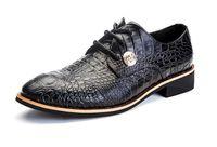 alligator shoe crocodile - Nice New Style Crocodile Pattern Men Oxford Shoes Flat Dress Shoes Lace Up Cowhide Leather Alligator Shoes For Men