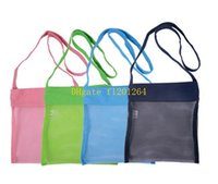 Wholesale 20pcs x21cm Small Size kids boy girl summer Beach seashell Shell Tote Bag Children Mesh Shell bag Colors
