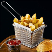 Wholesale Hot Sale Chips Mini Fry Baskets Stainless Steel Fryer Basket Strainer Serving Food Presentation Cooking Tool French Fries Basket