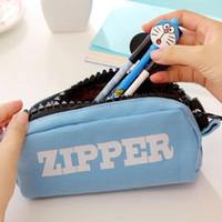 Wholesale 4pcs Canvas pen pencil bags Vintage zipper pencil case pen bag Stationery Office accessories School supplies