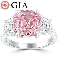 Wholesale 5 GIA Certified Fancy Intense Pink Diamond Engagement Ring in Platinum
