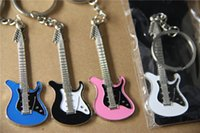 advertising holders - In business Free to engrave customized logo GUITAR KEYCHAIN OPENER creative guitar metal key chain advertising promotional gifts
