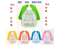 Wholesale Waterproof baby feeding overclothes infant apron waterproof smock overclothes children kids dustcoat Hello Waterproof overclothes TPU