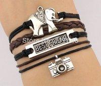 best camera jewelry - ashion Jewelry Bracelets Elephant bracelet Best friend bracelet Camera charm Bracelet Wax Cords Leather Bracelet graduation gift Free