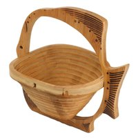 fruit gift baskets - Folding Fish Shape Wooden Fruit Basket Retro Compote Wood Craft Storage Board Baskets Holder Home Kitchen Gift Decor Portable
