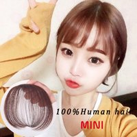air extension clips - Apply Hair Clip in Bangs Fake Hair Extension Hairpieces False Hair Piece Clip on Front Neat Bang For Women Human Hair Air Bangs