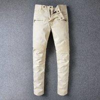 apricot skinny jeans - Designer Brand New Men Apricot Balmai jeans Skinny Ripped Slim balmaied jeans for men Fashion Man Casual Yellow Denim Biker Cowboy Pants