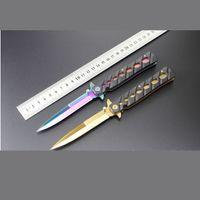 Wholesale New Colour Titanium Coating Italian Stiletto Knife inch pocket knives Popular knife gift knife Gold and Colour Titanium Colour