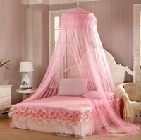 Wholesale Elgant Round Lace Mosquito Net Solid White Mosquito Net Bed Light Mosquitero Easy for Using Klamboe Bed Canopy