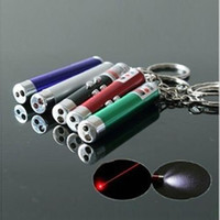Wholesale New Hot In Red Laser Pointer Pen With White LED Light Keychain Flash Light