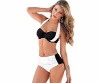Wholesale 2016 New Sexy Bikinis Women Swimsuit High Waisted Bathing Suits Swim Halter Top Push Up Bikini Set Beach Plus Size Swimwear XXXL