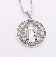 big medals - 35x31mm Saint St Benedict of Nursia Patron Against Evil Cross Medal Big Pendant Necklac N1646 inches Chains