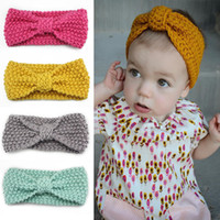 baby warming plate - 1Pc Newborn Baby Bow Knot Headband for Winter Girl Crochet Head wrap Warmer Knitted Bow Hairband Hair Band Hair Bow Accessories