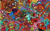 animals drawings - Psychedelic drawings colorful x36 inch Silk Poster wall decor