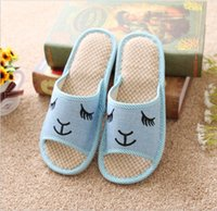 Wholesale Men and women with cool summer slippers Slanted rabbit series indoor flax antiskid cool slippers at home