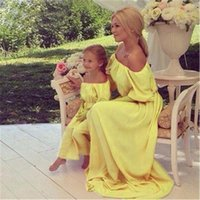 Wholesale 2016 Summer Mother Daughter Dresses Bohemian Beach Family Matching Clothes Off Shoulder Chiffon Long Dress Family Fitted