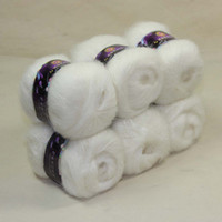 Cheap Sale 6 balls Luxurious MOHAIR 50% Cashmere 50%silk hand Yarn Knitting white 01